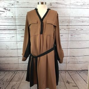 Lane Bryant brown black shirt dress with belt